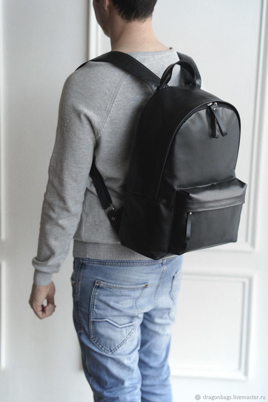 Backpack leather men's 'Lucas' (Black), Men\\\'s backpack, Yaroslavl,  Фото №1