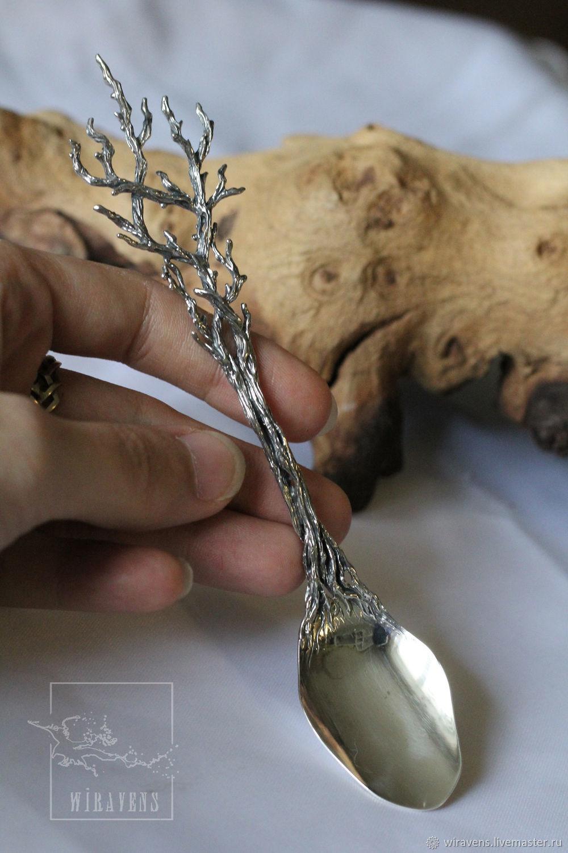 Серебряная чайная ложка древесных плетений. Единственный экземпляр, Ложки, Москва,  Фото №1