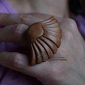 Украшения ручной работы. Ярмарка Мастеров - ручная работа Кольцо деревянное Лотос мини. Handmade.