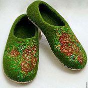 """Обувь ручной работы. Ярмарка Мастеров - ручная работа Тапки женские валяные """"Зеленый луг"""". Зеленые тапочки. Handmade."""