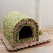 """Для домашних животных, ручной работы. Ярмарка Мастеров - ручная работа Комплекс для кошек """"Трэйси мини"""" кремово-оливковый. Handmade."""