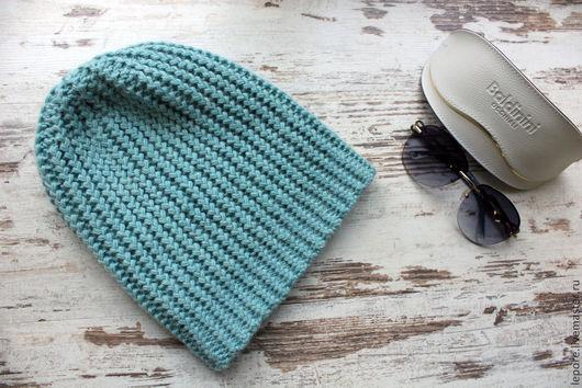 мятный  альпака  мериносовая шесть  вязаная шапка  купить шапку  авторская работа  теплая вязаная шапка   фактурная вязка