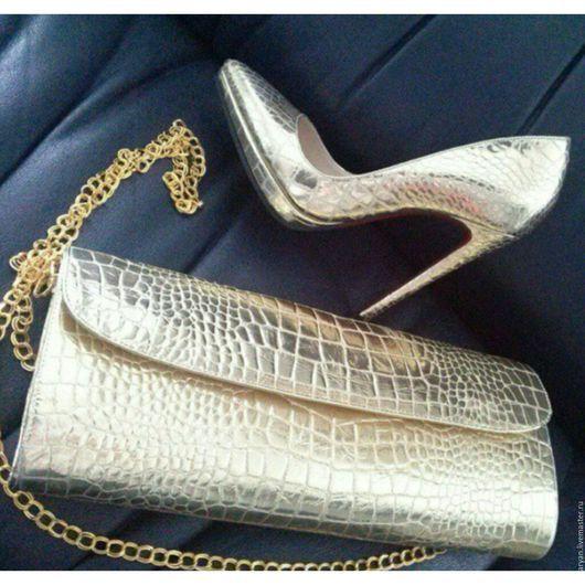 Обувь ручной работы. Ярмарка Мастеров - ручная работа. Купить Набор туфли +клатч. Handmade. Серебряный, ручная работа купить