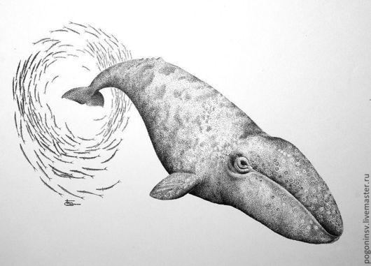 Животные ручной работы. Ярмарка Мастеров - ручная работа. Купить Серый кит. Handmade. Чёрно-белый, графика, анималистика, кит