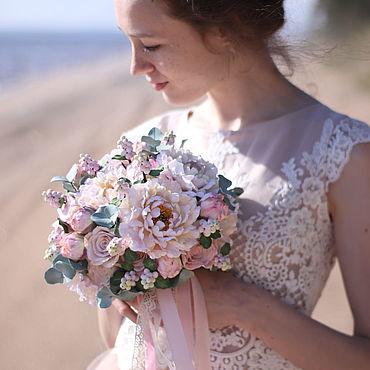Свадебный салон ручной работы. Ярмарка Мастеров - ручная работа Букет невесты с пионами  и розами в пыльно розовых тонах. Handmade.
