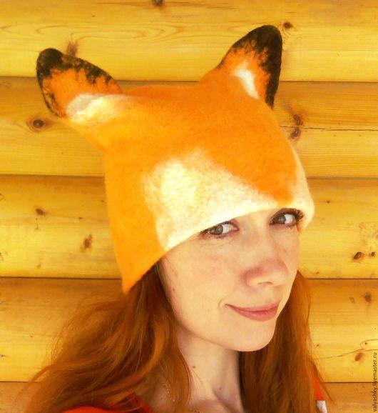 """Шапки ручной работы. Ярмарка Мастеров - ручная работа. Купить """"Лиса"""" шапка валяная. Handmade. Оранжевый, лисья, баня"""