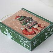 """Для дома и интерьера ручной работы. Ярмарка Мастеров - ручная работа Деревянный ящик """" Winter fox"""". Handmade."""