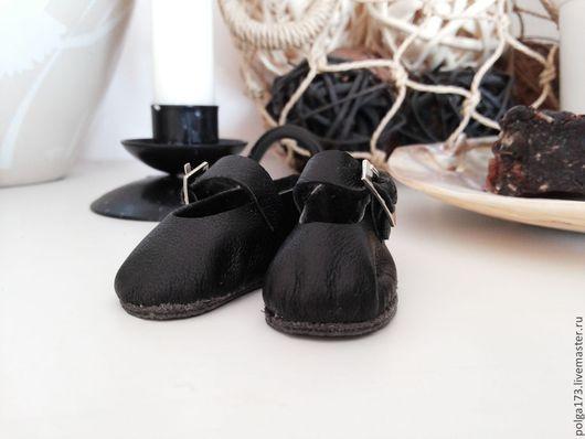 Одежда для кукол ручной работы. Ярмарка Мастеров - ручная работа. Купить туфельки с пряжкой. Handmade. Черный, тильда, Замша натуральная