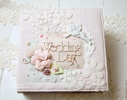 Свадебные фотоальбомы ручной работы. Ярмарка Мастеров - ручная работа. Купить Нежный свадебный альбом. Handmade. Бледно-розовый