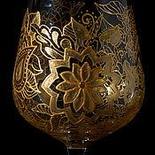 """Посуда ручной работы. Ярмарка Мастеров - ручная работа Комплект из двух бокалов """"Золотые кружева"""" 2. Handmade."""