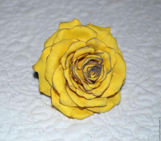 Детская бижутерия ручной работы. Ярмарка Мастеров - ручная работа. Купить Роза из фоамирана.Резинка для волос.. Handmade. Желтый