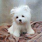 Куклы и игрушки handmade. Livemaster - original item Teddy Animals: Little white puppy. Handmade.