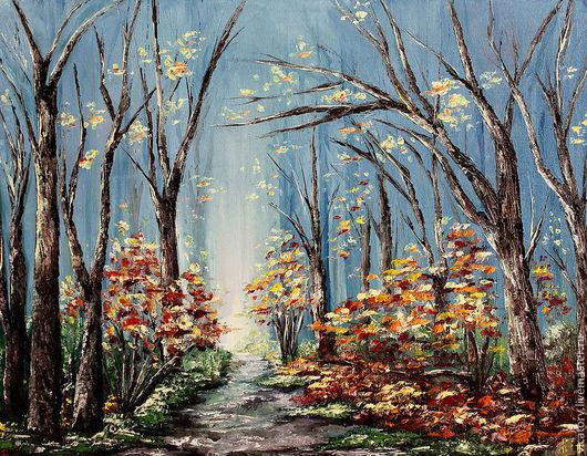 """Пейзаж ручной работы. Ярмарка Мастеров - ручная работа. Купить """"В темно синем лесу.."""", картина масло. Handmade."""