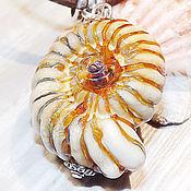 Украшения handmade. Livemaster - original item Golden Ammonite - sea lampwork pendant. Handmade.