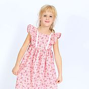 Одежда детская handmade. Livemaster - original item Pink summer dress for girls in the style of shabby chic on the height 110-116. Handmade.