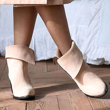 Обувь ручной работы. Ярмарка Мастеров - ручная работа Замшевые казаки, ручная работа. Handmade.