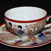 Винтаж handmade. Livemaster - original item Vintage tea pair, hand painted, Satsuma, Japan. Handmade.
