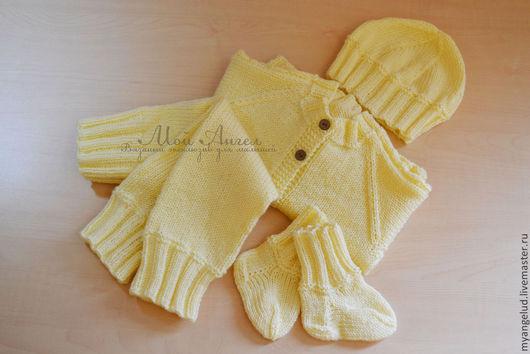 Одежда ручной работы. Ярмарка Мастеров - ручная работа. Купить Комплект для малыша (малышки) цвета Экрю. Handmade. Белый, для малышей