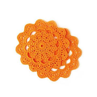 Для дома и интерьера ручной работы. Ярмарка Мастеров - ручная работа Салфетки под тарелки, оранжевый, поштучно. Handmade.