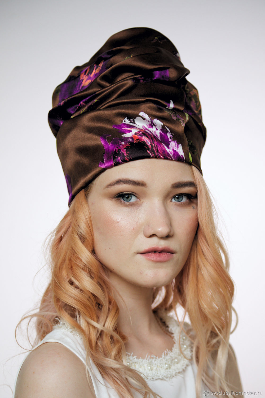 9ae28117408 My Livemaster Hats handmade. Turban hat hijab millinery Brown with flowers. TURBAN  SVS.