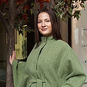 Одежда ручной работы. Ярмарка Мастеров - ручная работа Куртка-пончо - пальтовая ткань, на подкладке - салатовый. Handmade.