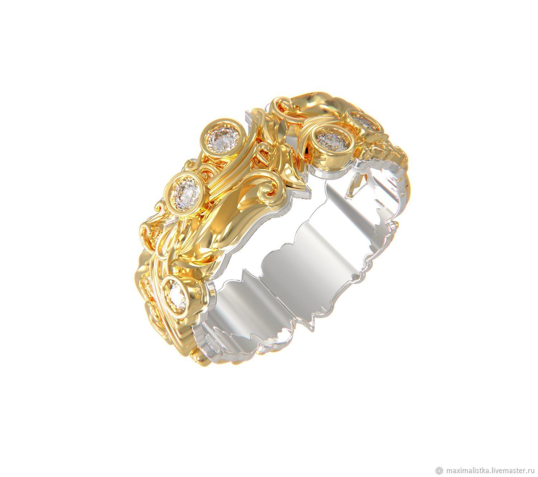 """Золотое кольцо """"Ажурное с бриллиантами"""" из жёлтого и белого золота, Кольца, Москва,  Фото №1"""