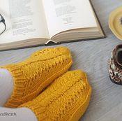 Аксессуары ручной работы. Ярмарка Мастеров - ручная работа Желтые теплые женские носки. Вязаные следки ручной работы. Handmade.