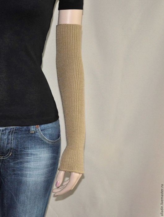 Варежки, митенки, перчатки ручной работы. Ярмарка Мастеров - ручная работа. Купить Рукава Susan (полушерсть, stretch). Handmade. Бежевый
