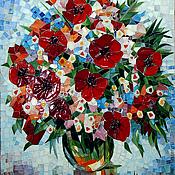 """Картины и панно ручной работы. Ярмарка Мастеров - ручная работа картина,мозаика """"Букет"""",стекло. Handmade."""