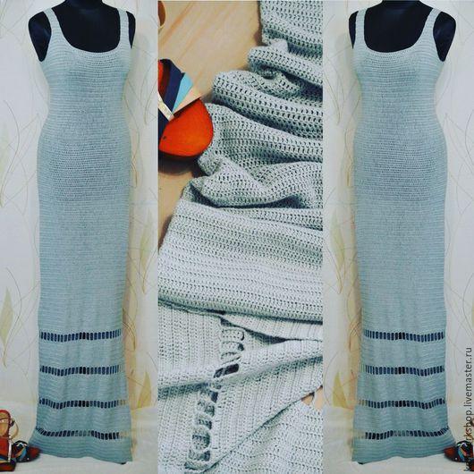 Платья ручной работы. Ярмарка Мастеров - ручная работа. Купить Длинное летнее  вязаное платье из хлопка с вискозой. Handmade. Серый