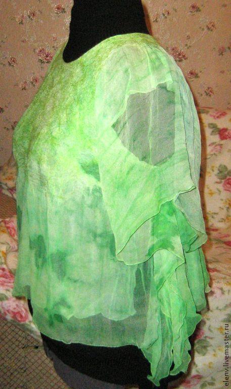 Блузки ручной работы. Ярмарка Мастеров - ручная работа. Купить Туника-топ Свежая зелень. Handmade. Салатовый, зеленая блузка