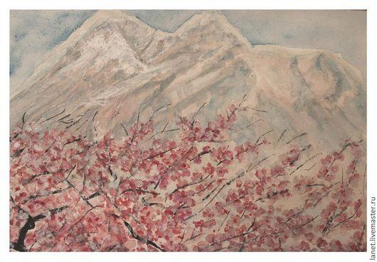 """Пейзаж ручной работы. Ярмарка Мастеров - ручная работа. Купить Акварельный рисунок """"Цветение вишни в горах Армении"""". Handmade."""