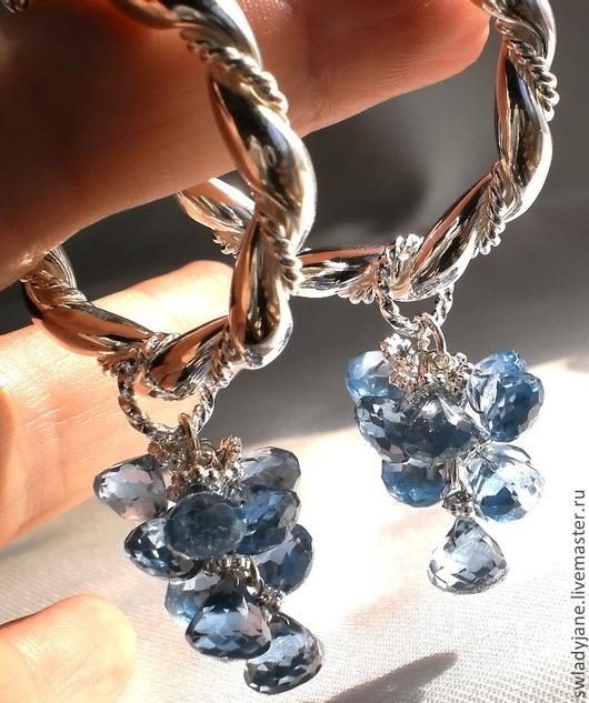 Серьги ручной работы. Ярмарка Мастеров - ручная работа. Купить Серебряные серьги Голубое озеро (Браслет) с голубыми топазами. Handmade.