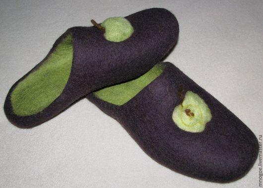 """Обувь ручной работы. Ярмарка Мастеров - ручная работа. Купить """"Зеленое яблоко"""". Handmade. Тёмно-фиолетовый, валяние мокрое"""