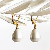 Украшения handmade. Livemaster - original item 18842_Серьги with pearls 12x15 mm, Earrings gold plated,White pearls,Gold. Handmade.