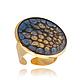 """Серьги ручной работы. Ярмарка Мастеров - ручная работа. Купить Синее безразмерное кольцо с золотом сюрприз """"Галактика"""". Handmade. Кольцо"""