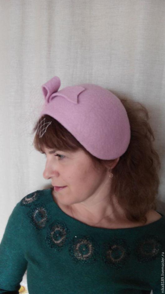 Шляпы ручной работы. Ярмарка Мастеров - ручная работа. Купить шляпка- накладка. Handmade. Розовый, шляпка-накладка, шляпка валяная