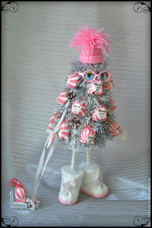 Новый год 2017 ручной работы. Ярмарка Мастеров - ручная работа. Купить Конфетная елочка. Handmade. Розовый, елочка, новогодний подарок