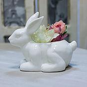 Материалы для творчества ручной работы. Ярмарка Мастеров - ручная работа Конфетница Милый Кролик - белая керамика. Handmade.