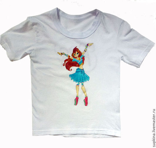 футболка  с рисунком, футболка на заказ, футболка с росписью, футболка с изображением, винкс, winks, подарок девочке, футболка девочке, футболка для девочки, футболка детская