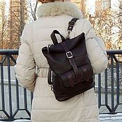 Сумки и аксессуары handmade. Livemaster - original item Backpack brown leather womens Cara Mod SR33-122. Handmade.