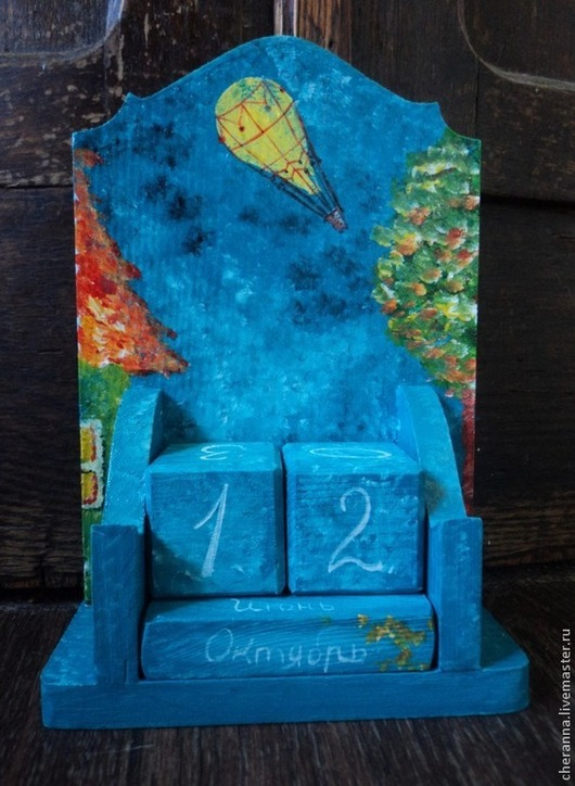 """Комплекты аксессуаров ручной работы. Ярмарка Мастеров - ручная работа. Купить Вечный календарь """"Полет"""". Handmade. Тёмно-бирюзовый, дерево"""