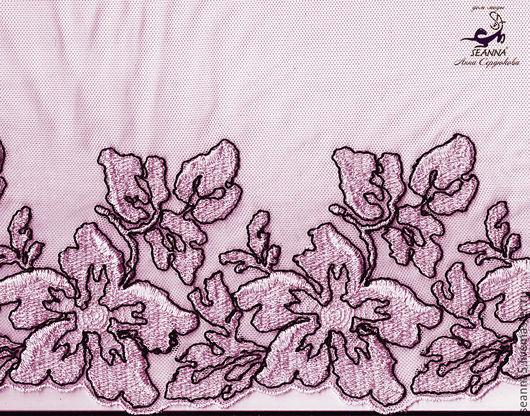 Шитье ручной работы. Ярмарка Мастеров - ручная работа. Купить Нежнейшее кружево вышитое розовое с черным 21 см. Handmade.