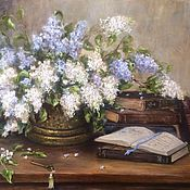 Картины и панно handmade. Livemaster - original item Oil painting lilacs in a bronze vase. Handmade.