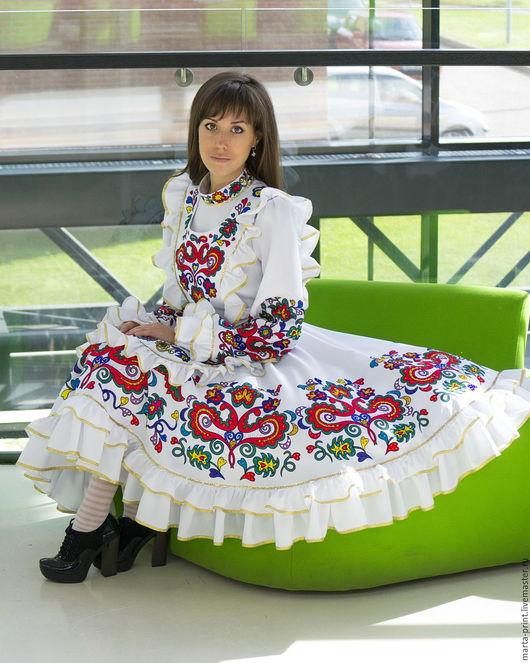 Татарский женский костюм, калфак, платок, фартук, тюбетейка, MartaKari Tatar national costume