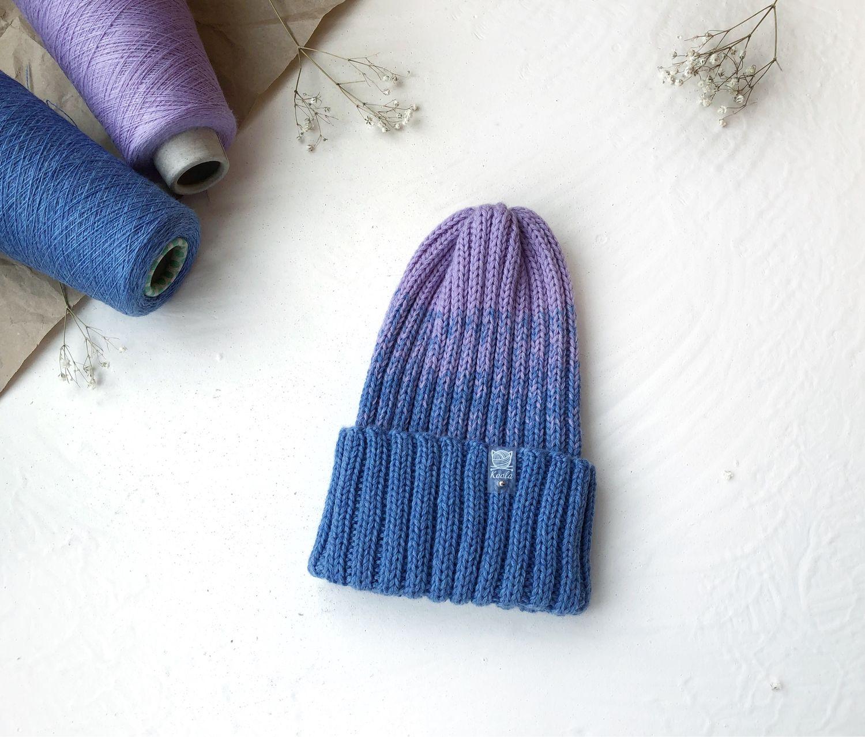 Шапка женская вязаная, шапка-резинка, шапка Тыковка