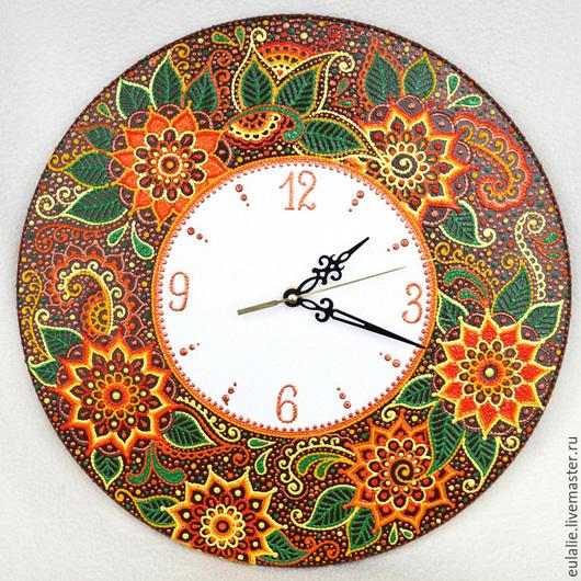 """Часы для дома ручной работы. Ярмарка Мастеров - ручная работа. Купить Часы """"Лето"""". Handmade. Ручная роспись, контуры, разноцветный"""