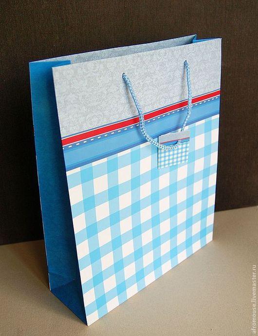 """Упаковка ручной работы. Ярмарка Мастеров - ручная работа. Купить пакет """"Ярко-голубая клетка"""" 28 х 39 х 9 см. Handmade."""