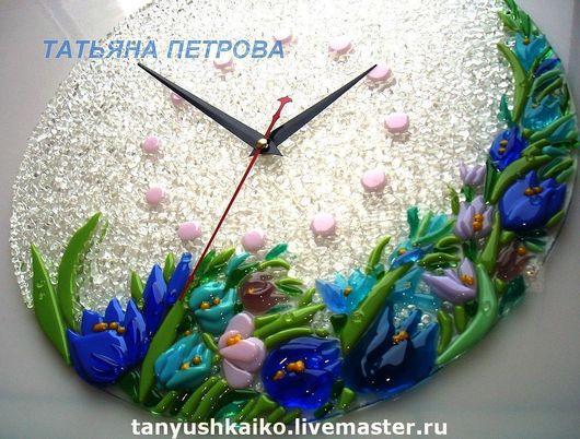 """Часы для дома ручной работы. Ярмарка Мастеров - ручная работа. Купить ЧАСЫ """"Подснежники"""" стекло, фьюзинг. Handmade. Стекло"""