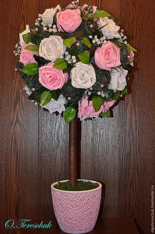 """Топиарии ручной работы. Ярмарка Мастеров - ручная работа. Купить Топиарий, дерево счастья """"Розовое счастье"""". Handmade. Топиарий, интерьер"""